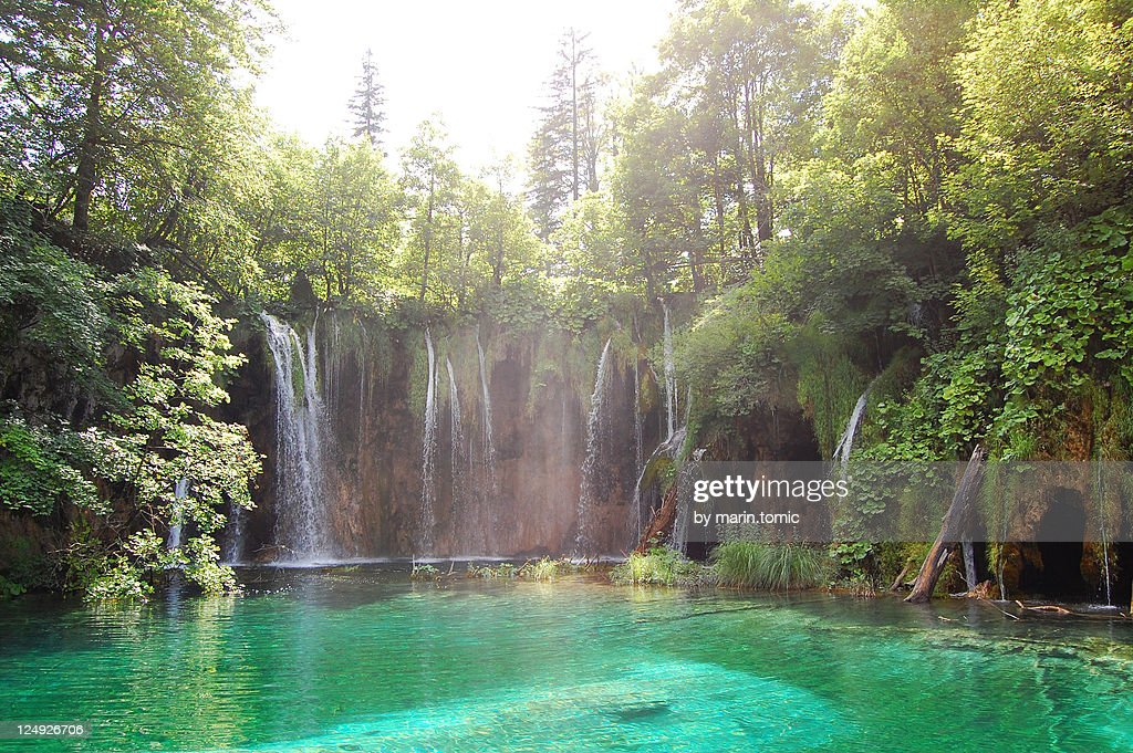 Waterfall in Plitvice lakes national park : Stock Photo