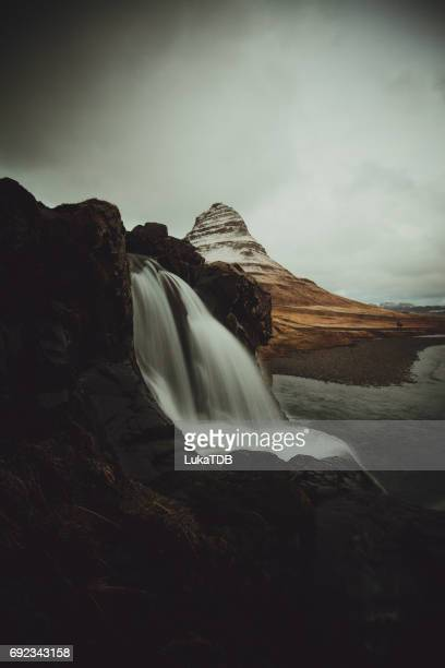 Waterfall in remote location in Iceland