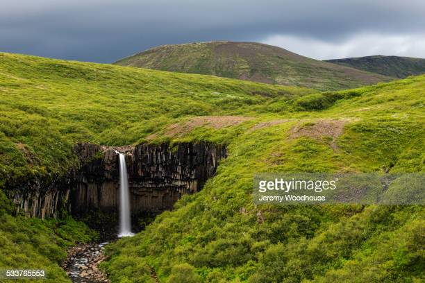 waterfall in rolling hills in remote landscape - skaftafell national park stock photos and pictures
