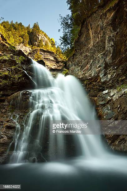 waterfall in the Swiss Alps mountains