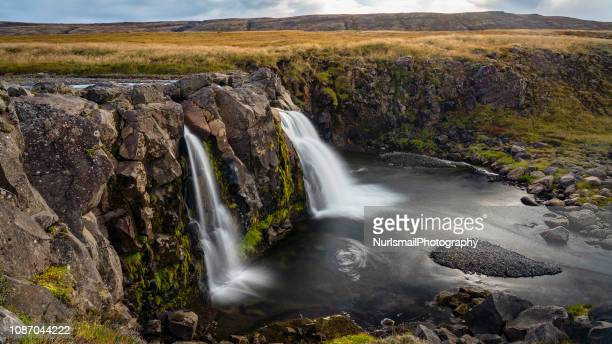 waterfall in thingvellir national park, southwestern iceland - thingvellir stock photos and pictures