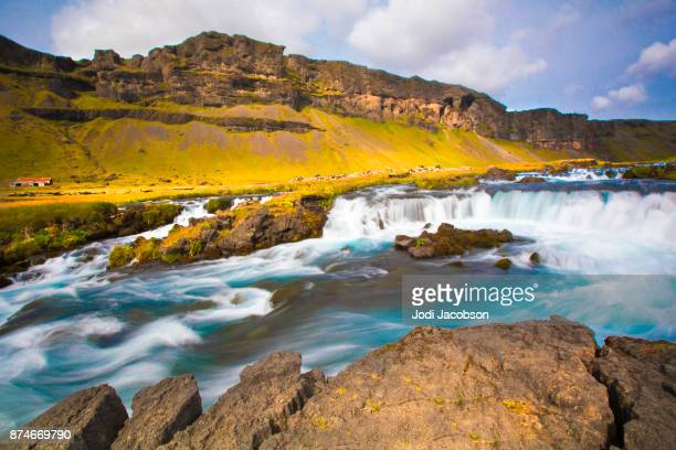 waterfall in vatnajokull national park in iceland - gullfoss falls stock photos and pictures