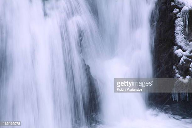 waterfall in winter - miyagi prefecture stock pictures, royalty-free photos & images