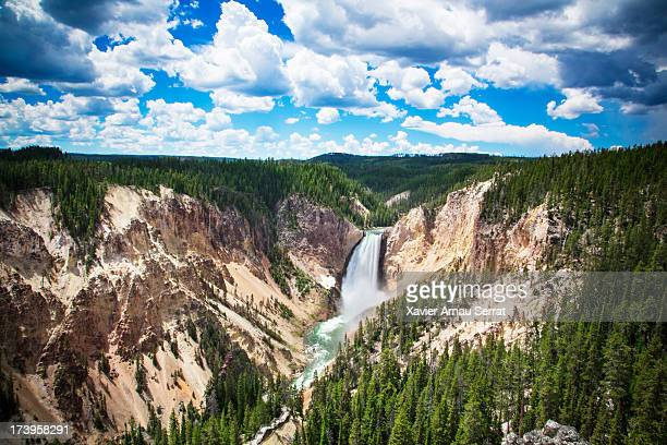waterfall in yellowstone river - yellowstone river stock photos and pictures