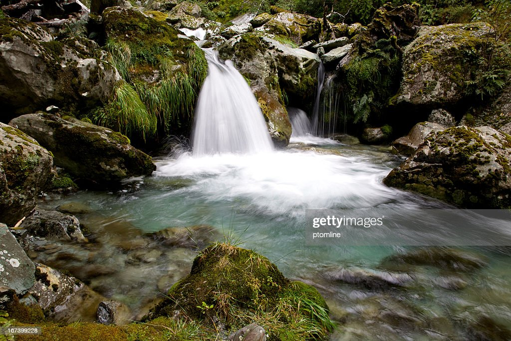 Waterfall into green pool Routeburn Mountain Trail, New Zealand : Stock Photo