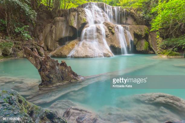 "waterfall nature at ""huai mae kamin"" kanchanaburi province, thailand - fast shutter speed stock photos and pictures"