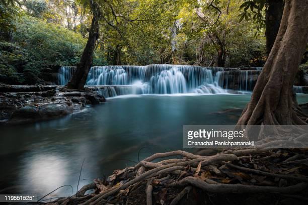 waterfall of huay mae khamin from kanchanaburi, thailand - カンチャナブリ県 ストックフォトと画像