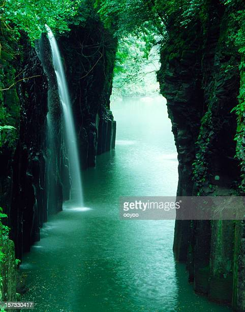 waterfall of the ravine in Japan