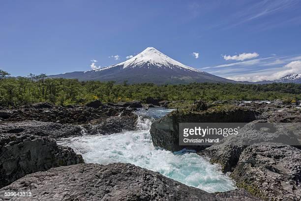 Waterfall of the Rio Petrohue and the Osorno volcano, Parc Nacional Vicente Perez Ros, Puerto Varas, Los Lagos Region, Chile