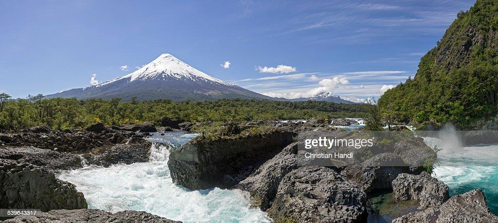 Waterfall of the Rio Petrohue and the Osorno volcano, Parc Nacional Vicente Perez Ros, Puerto Varas, Los Lagos Region, Chile : Stock Photo