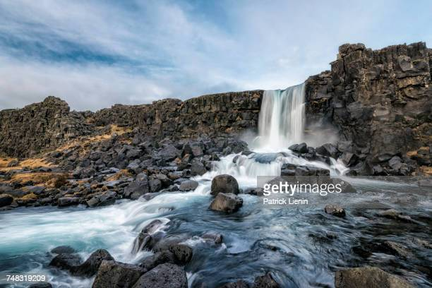 Waterfall on rocks, Pingvellir, Southern Iceland, Iceland