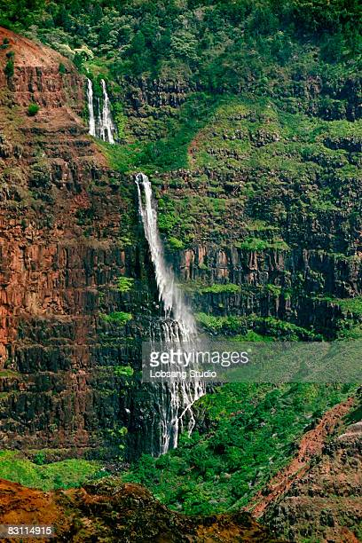 waterfall - waimea canyon stock pictures, royalty-free photos & images