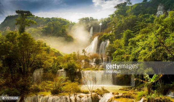 thi lor su waterfall - elysium stock photos and pictures