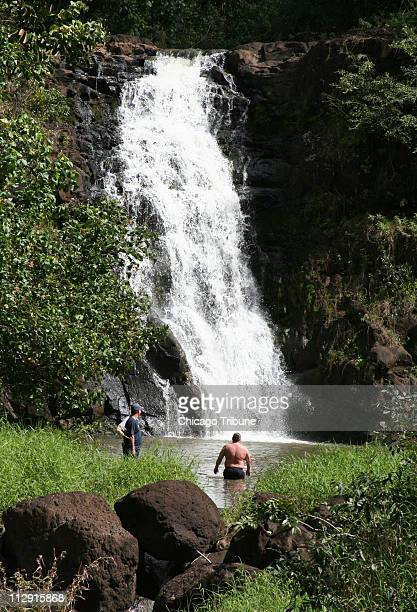 A waterfall rewards those who hike to the end of Waimea Valley on Oahu's North Shore