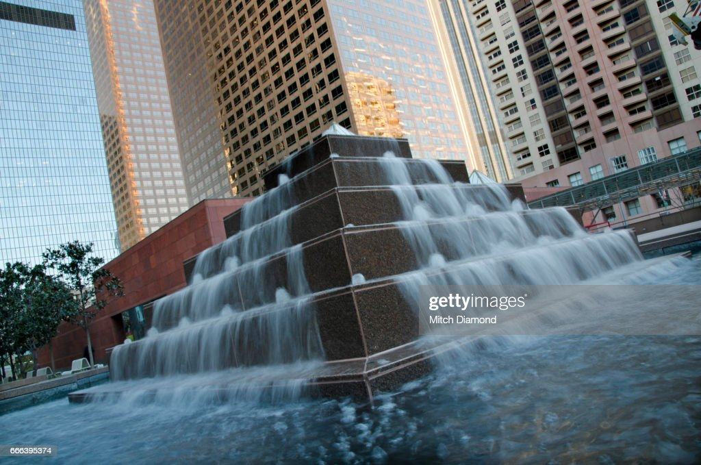 waterfall sculpture outside of moca on los angeles stock photo