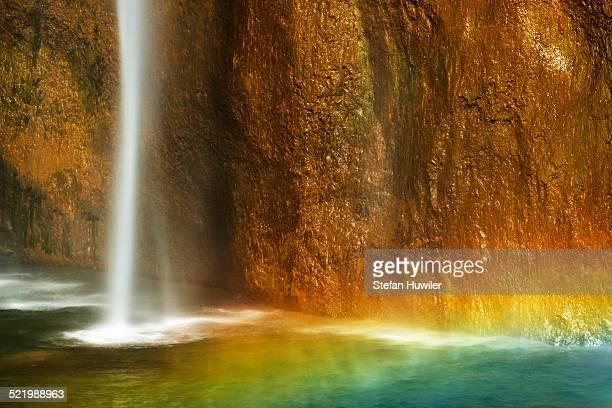 Waterfall with a rainbow, Plitvice Lakes National Park, Plitvice Jezera, Lika-Senj, Croatia