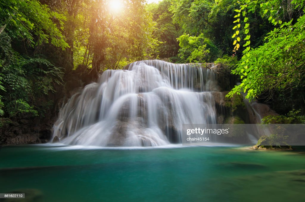 Waterfall with deep forrest waterfall in Erawan waterfall National Park Kanjanaburi Thailand. : Stock-Foto