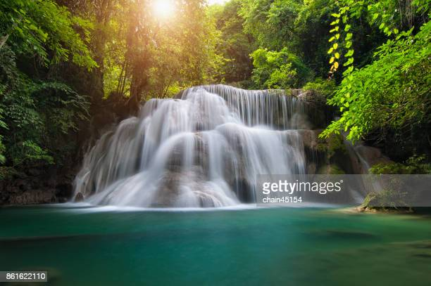 waterfall with deep forrest waterfall in erawan waterfall national park kanjanaburi thailand. - spring flowing water stock pictures, royalty-free photos & images
