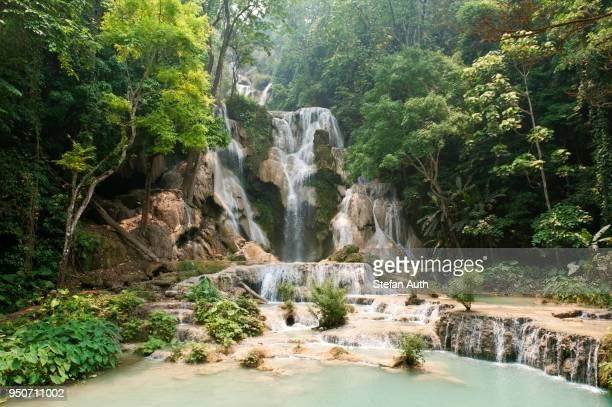 Waterfall with natural pools in the jungle, Kuang Si Waterfall, near Luang Prabang, Laos
