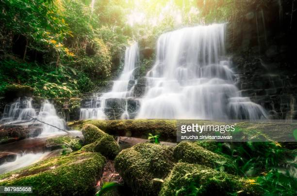 Waterfall with stone , Mundang waterfall , thailand .