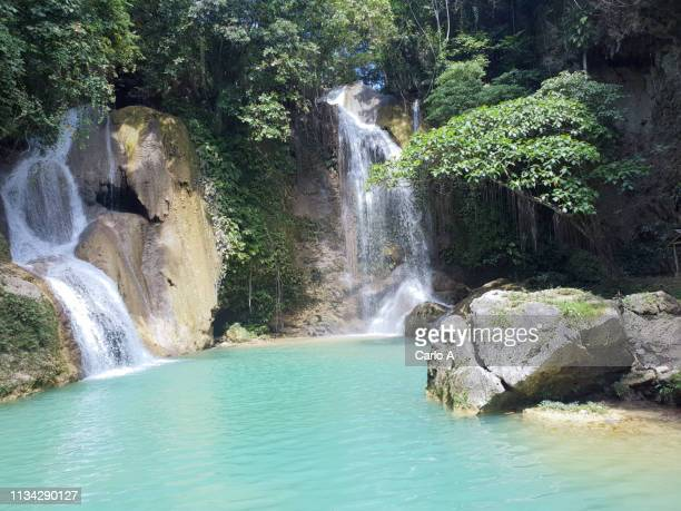 waterfalls and lagoon - lagoon stock pictures, royalty-free photos & images