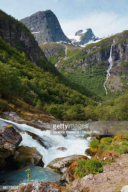 waterfalls and mountains in olden valley - terence waeland stock pictures, royalty-free photos & images