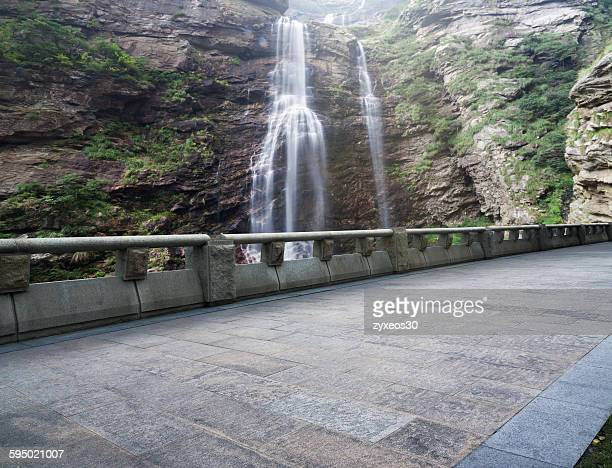 Waterfalls and road