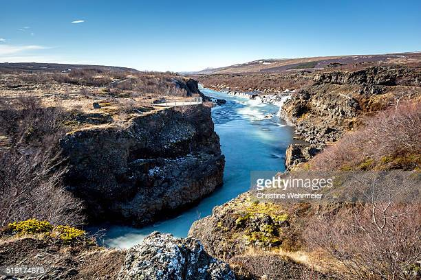 waterfalls at hraunfossar, husafell, iceland - christine wehrmeier stock pictures, royalty-free photos & images