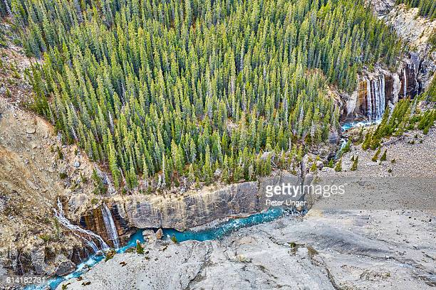 waterfalls at the columbia icefield,alberta - columbia icefield stock pictures, royalty-free photos & images