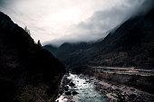 Waterfalls in mountain on the Italian Dolomites
