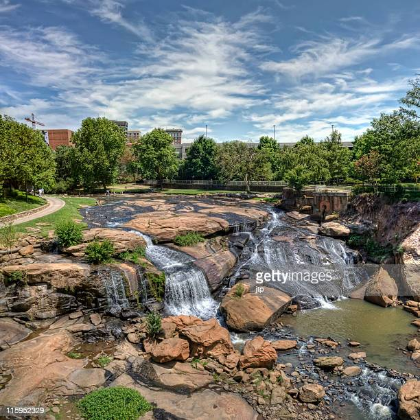 waterfalls of greenville - greenville south carolina stock photos and pictures