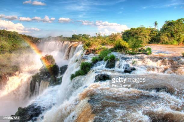 waterfalls on sunny day, iguazu, argentina - イグアス滝 ストックフォトと画像