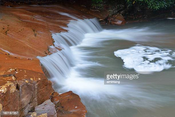 waterfalls over red rocks - monongahela national forest stock photos and pictures