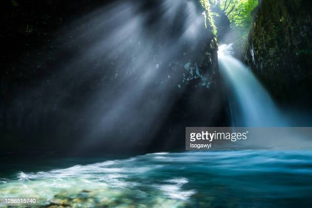 waterfalls with morning ray of light - isogawyi stock pictures, royalty-free photos & images