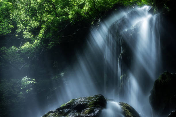 Waterfalls With Rays Of Sunlight