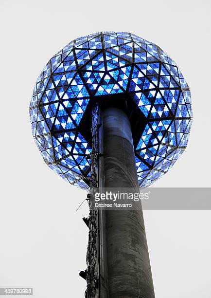 Waterford Crystal ball drops at the 2014 New Year's Eve Philips Ball Test at One Times Square on December 30 2013 in New York City