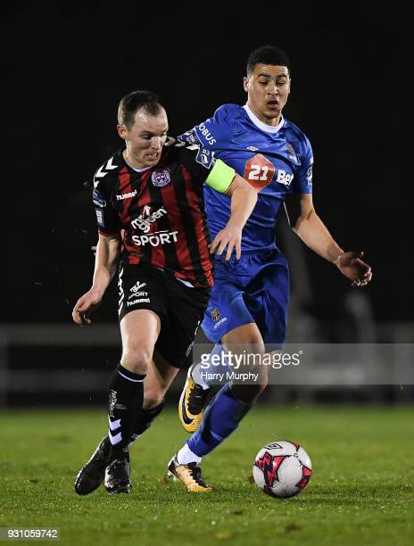 Waterford Ireland 12 March 2018 Derek Pender of Bohemians in action against Courtney Duffus of Waterford during the SSE Airtricity League Premier...