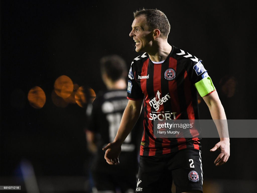 Waterford , Ireland - 12 March 2018; Derek Pender of Bohemians reacts during the SSE Airtricity League Premier Division match between Waterford and Bohemians at Waterford Regional Sports Centre in Waterford.