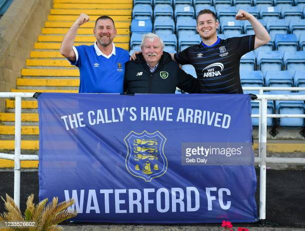 Waterford , Ireland - 18 June 2021; Waterford supporters Martin O'Callaghan, left, with his father Martin Snr, and son Brandon before their side's...