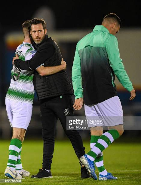 Waterford Ireland 19 August 2019 Shamrock Rovers manager Stephen Bradley with Jack Byrne of Shamrock Rovers following the SSE Airtricity League...