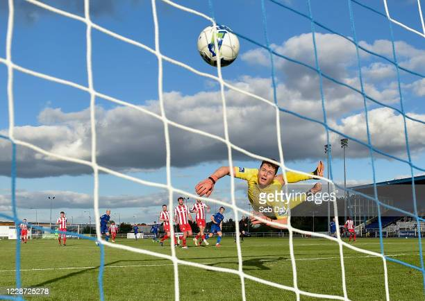 Waterford , Ireland - 26 September 2020; Sligo Rovers goalkeeper Ed McGinty watches as a shot from Waterford's Mattew Smith hits the back of the net...
