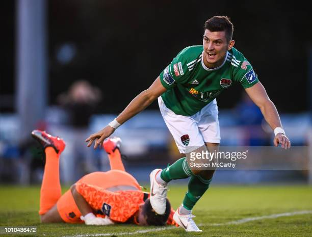 Waterford Ireland 3 August 2018 Graham Cummins of Cork City celebrates after scoring his side's second goal during the SSE Airtricity League Premier...