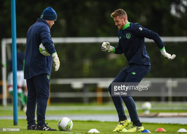 Waterford Ireland 4 October 2017 Mark Travers of Republic of Ireland warms up with goalkeeping coach Dermot O'Neill prior to the UEFA European U19...