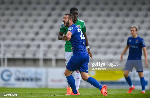 Waterford , Ireland - 8 August 2020; Kurtis Byrne of Waterford appeals for handball against Kevin O'Connor of Cork City during the SSE Airtricity...