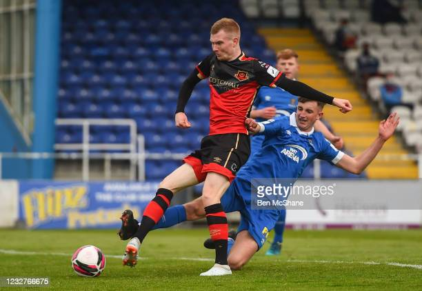 Waterford , Ireland - 8 May 2021; Mark Doyle of Drogheda United has a shot on goal despite the attention of Sam Morrisey of Waterford during the SSE...