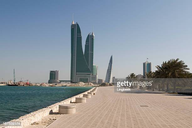waterfront and bahrain financial harbour - waterfront stock pictures, royalty-free photos & images