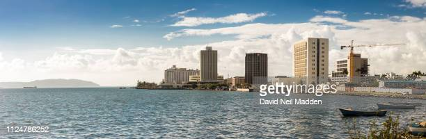 waterfront and buildings in downtown kingston jamaica - kingston jamaica stock pictures, royalty-free photos & images