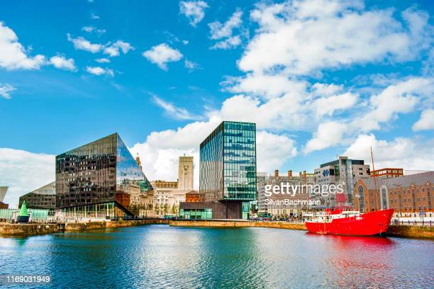 waterfront and city skyline, liverpool, merseyside, united kingdom - merseyside stock pictures, royalty-free photos & images