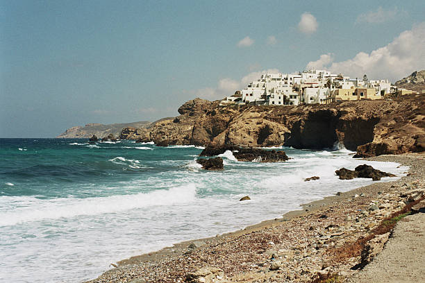 Waterfront and cliffs in Naxos