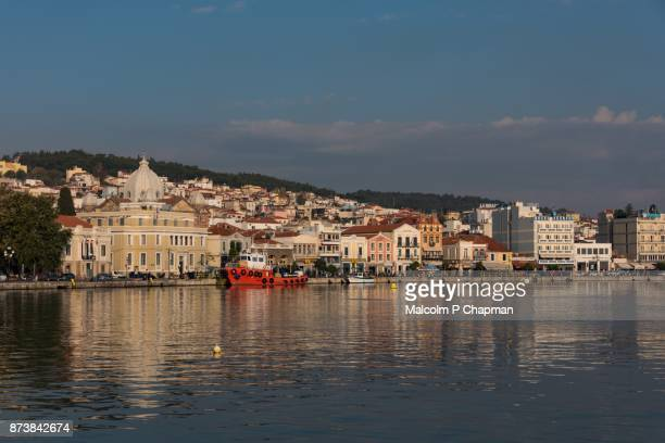 waterfront and town, mytilene, lesvos, greece - lesbos stock photos and pictures